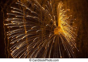 feuerwerk, explosionen, in, der, nacht, sky., close-up.
