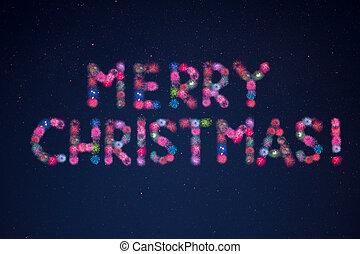 feuerwerk, formung, feier, weihnachten, wörter, fröhlich