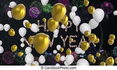feuerwerk, glücklich, luftballone, jahr, neu