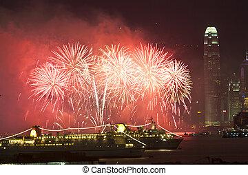 feuerwerk, in, hongkong, an, chinesisches neues jahr