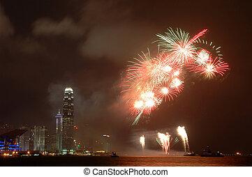 feuerwerk, in, hongkong
