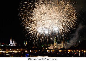 feuerwerk, nacht, in, stadtzentrum, aus, kreml