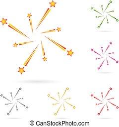Feuerwerk, Raketen, Explosion, Vorlage, Logo