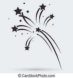 feuerwerk, raketen, zeichen, icon., sprengstoff,...