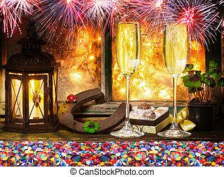 feuerwerk, vorabend, jahres, konfetti, neu , champagner