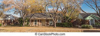 feuillage, couleurs, automne, histoire, dallas, panoramique, clair, banlieues, unique, maisons, bungalow