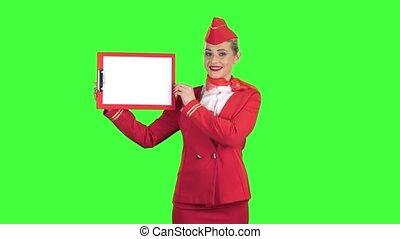 feuille, écran, blanc, vert, hôtesse, dossier, paper., rouges, augmentations