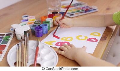 feuille, écrire, papier, apprentissage, lettres, blanc