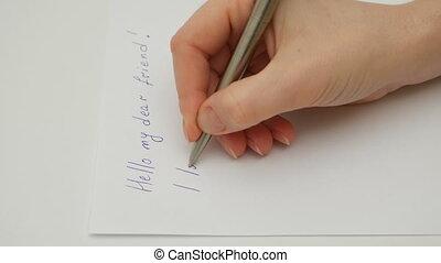feuille, écrit, main, papier, femme, amour, vous