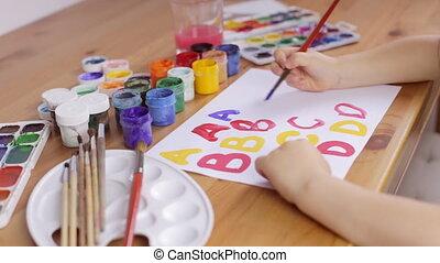 feuille, écrit, papier, brosse, enfant, lettres, blanc