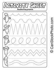 feuille, écriture, activité, 2, pratiquer