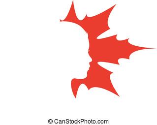 logo femme feuille beaut233 vecteur femme feuille