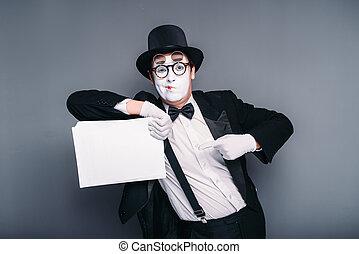 feuille, acteur, papier,  mime,  mâle, vide