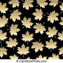 feuille, arbre, or, seamless, érable, automne