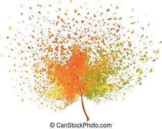 feuille automne, vecteur, coloré