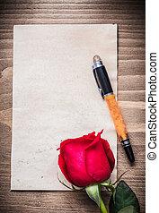 feuille blanche, de, papier, expansé, rose, stylo fontaine, vacances, concept