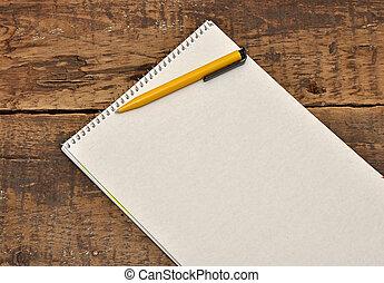feuille blanche, de, papier, table