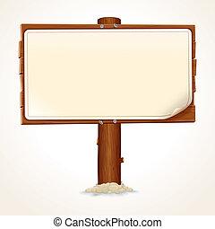 feuille, bois, signe, papier, fond, blanc