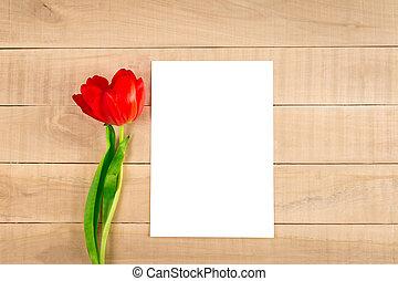 feuille, bois, tulipe, papier, table, blanc rouge