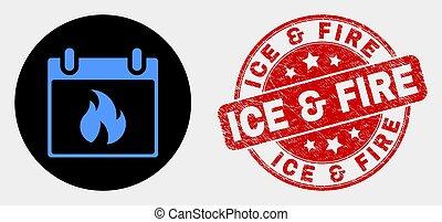 feuille, &, brûler, glace, timbre, chaud, vecteur, cachet, grunge, calendrier, icône