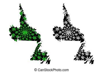 feuille, canada), thc), (marihuana, marijuana, noir, cannabis, labrador, conçu, (provinces, terre-neuve, vert, fait, carte, feuillage, territoires