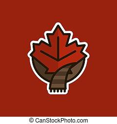 feuille, canadien, érable, emballé, scarf., logo, icône