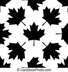feuille, canadien, modèle, illustration, arrière-plan., vecteur, blanc, érable, icône