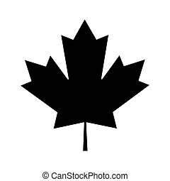 feuille, canadien, pictogramme, signe, vert, érable