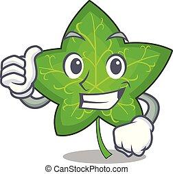 feuille, caractère, haut, lierre, vert, pouces, dessin animé