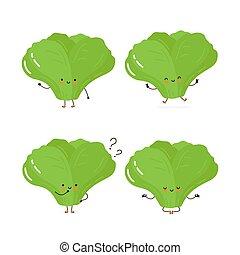 feuille, caractère, heureux, mignon, vert salade