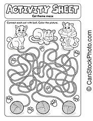 feuille, chat, activité, thème, 1
