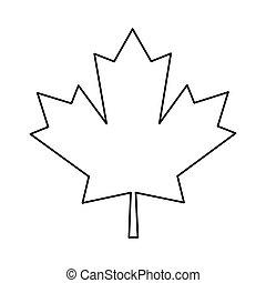 feuille, contour, canadien, signe, vert, érable