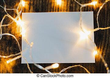feuille, copyspace, texte, entouré, lumières, papier addition, fée, ton