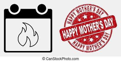feuille, détresse, icône, mère, timbre, chaud, vecteur, calendrier, heureux, jour, linéaire