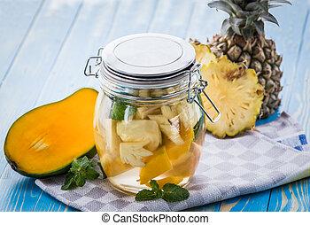 feuille, eau, mélange, mangue, infusé, menthe