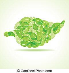 feuille, eco, feuilles, v, icône, faire, stockage