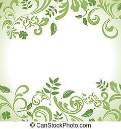 feuille, ensemble, bannière, vert