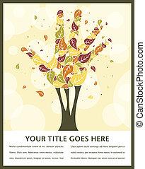 feuille, fait, arbre, shapes., main