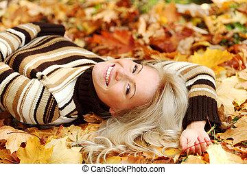 feuille, femme, portret, automne