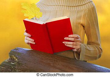 feuille, femme, sur, mains, jaune, automne, livre, closeup, arrière-plan rouge, barbouillage, tenue, érable