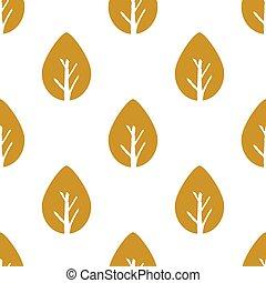 feuille, feuillage, or, pattern., seamless, vecteur, fond