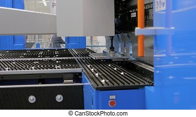 feuille, fonctionnement, hydraulique, usine, machine, automatique, métal, courber