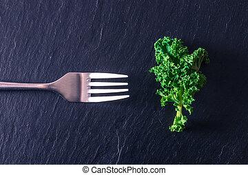 feuille, fourchette, légume, vert, isolé, pierre