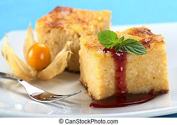 feuille, fraise, sauce, foyer, cuit, devant, foyer, bord, pudding, dessert, (selective, mint), riz, menthe, gâteau, gauche