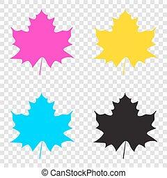 feuille, icônes, signe., cmyk, arrière-plan., érable, magnétique, transparent, cyan