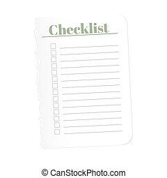 feuille, illustration., arrière-plan., complété, déchiré, isolé, chèque, papier, enregistrement, vecteur, vide, list., tasks., blanc