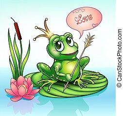 feuille, illustration, grenouille, princesse
