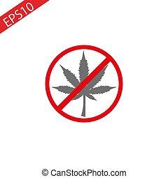 feuille, illustration., non, signe, marijuana, prohibition, drugs., cannabis, vecteur
