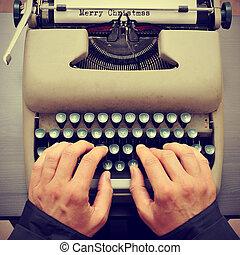 feuille, joyeux, wi, papier, tapé machine, machine écrire, ...