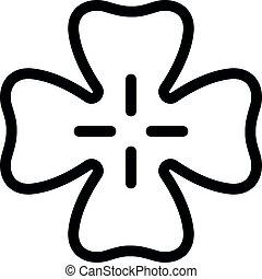 feuille, lancer, contour, style, icône, irlande